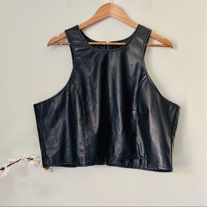 Last Kiss Faux Leather Sleeveless Crop Size 2X